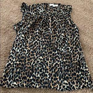 Loft leopard print sleeveless blouse